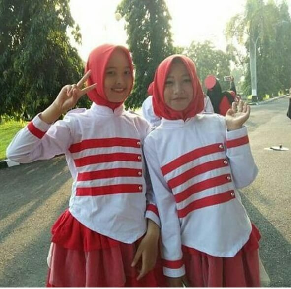 Dhanty waktu jadi mayoret drumband penutupan upacara 17 agustus di Griya Agung Palembang