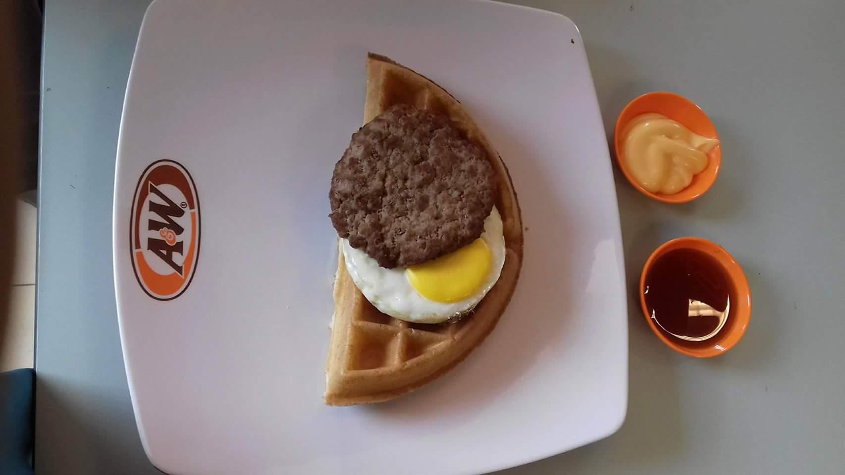 Waffle beef and egg
