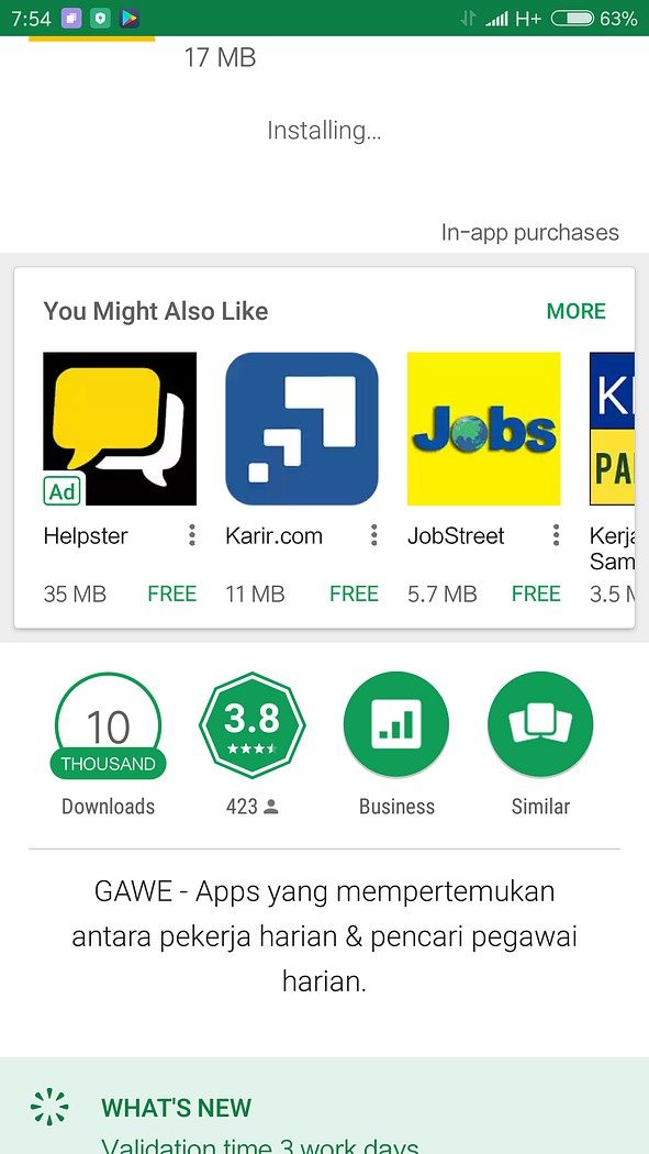 Aplikasi Gawe di Playstore